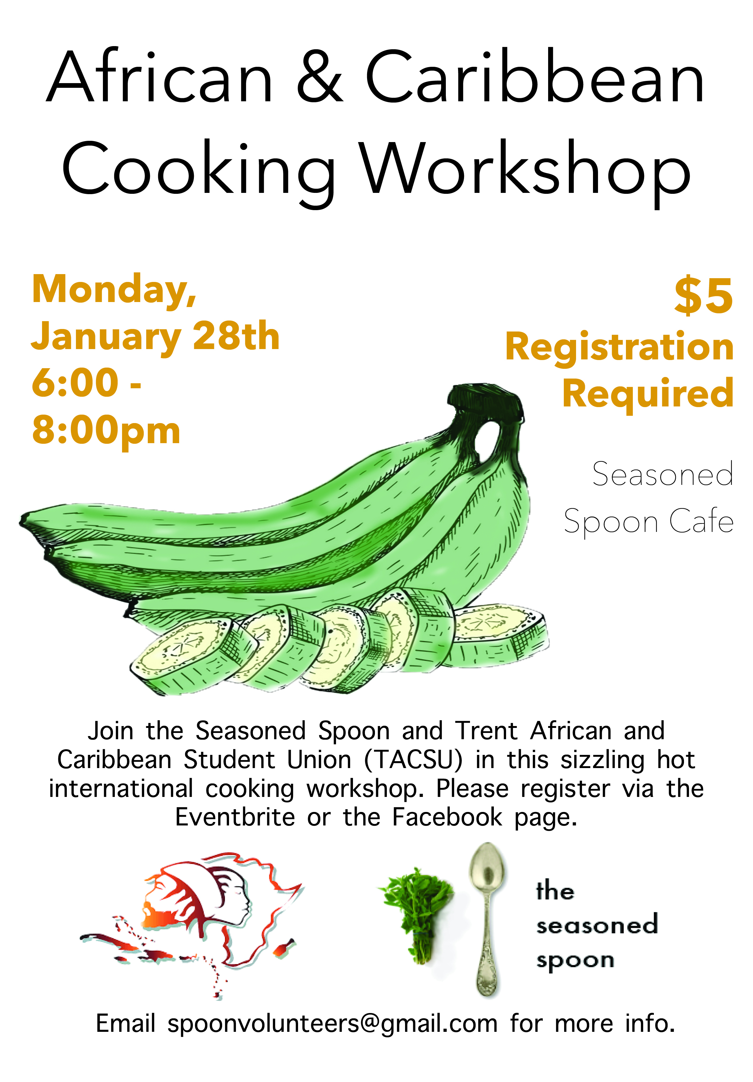 illustration of a bunch of plantains, with one plantain chopped up in the front - over a white background, surrounded by text with event details