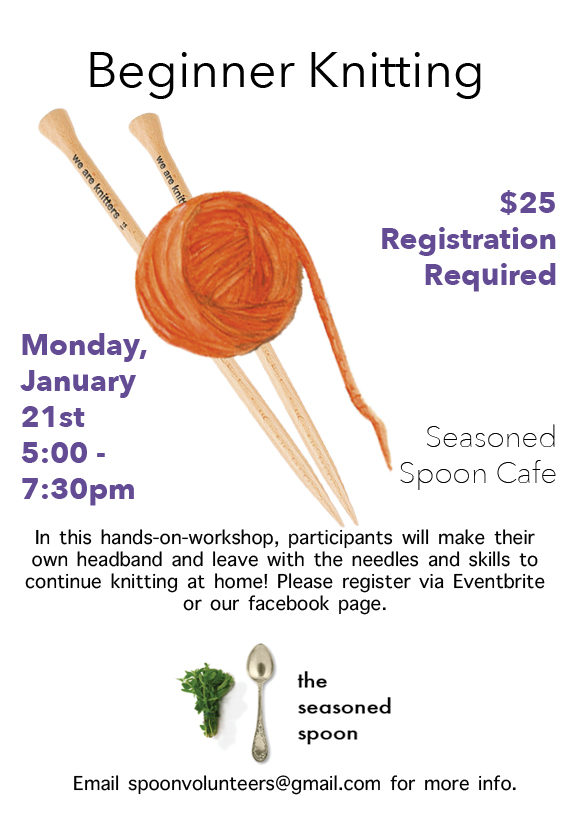 An illustration of an orange ball of yarn is centre with two knitting needles behind it and text details about the event around the image.
