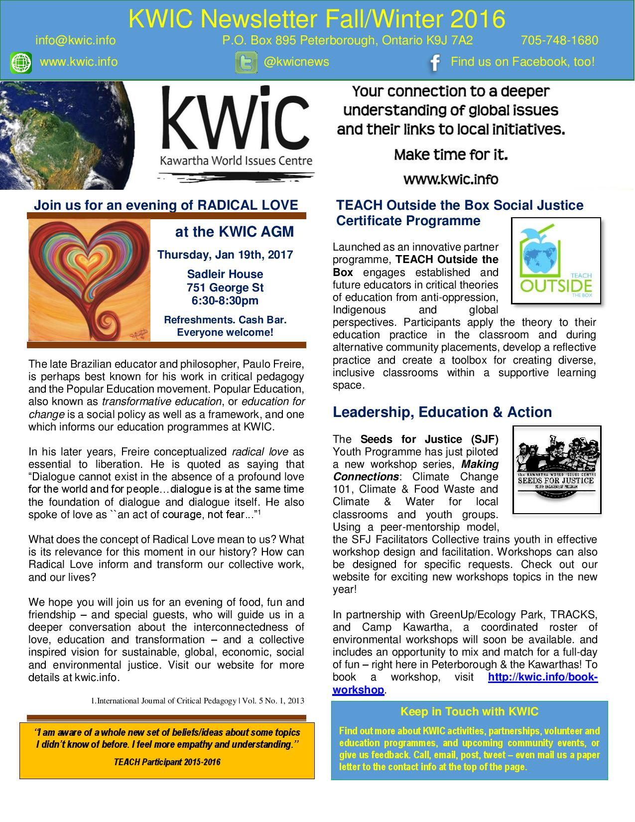 KWIC Winter 2016 Newsletter