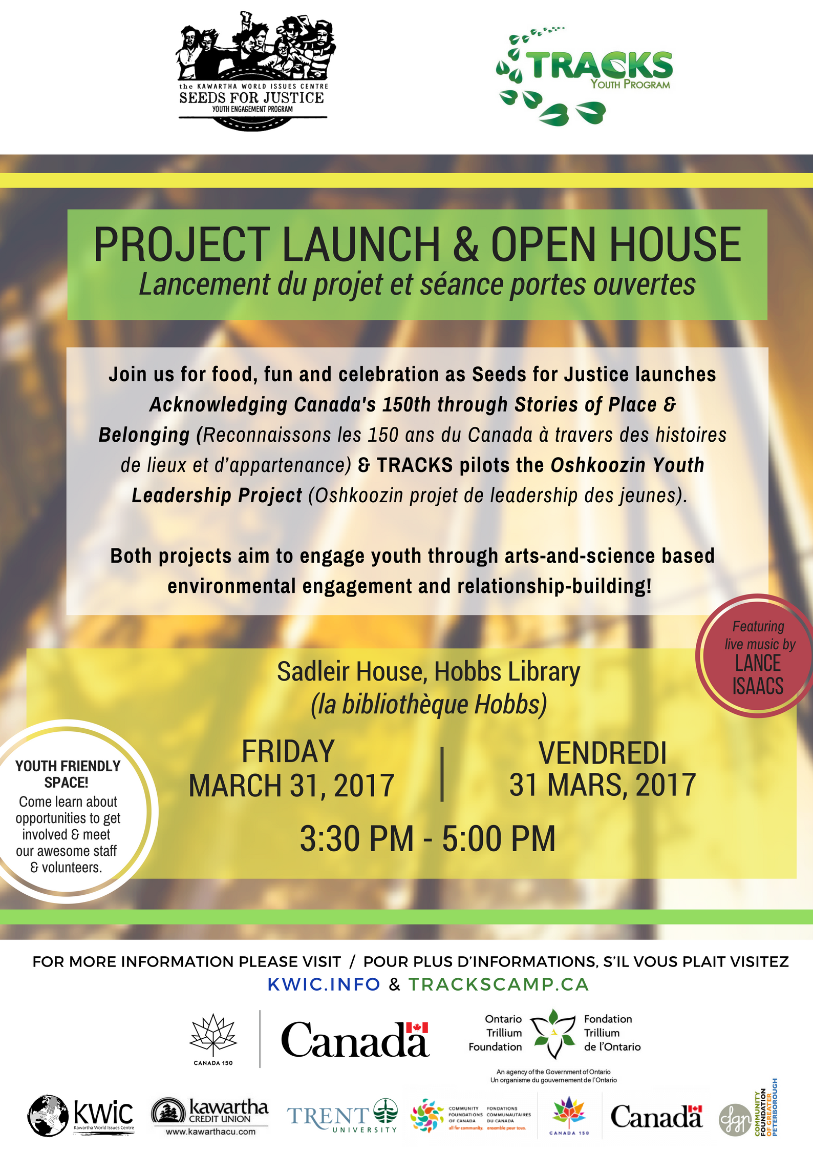KWIC is pleased to invite community members, partners, volunteers & interested youth to an Open House and Youth Project Launch.    Friday, March 31, 2017 from 3:30 PM – 5:00 PM *remarks at 4 PM @ Hobbs Library Sadleir House