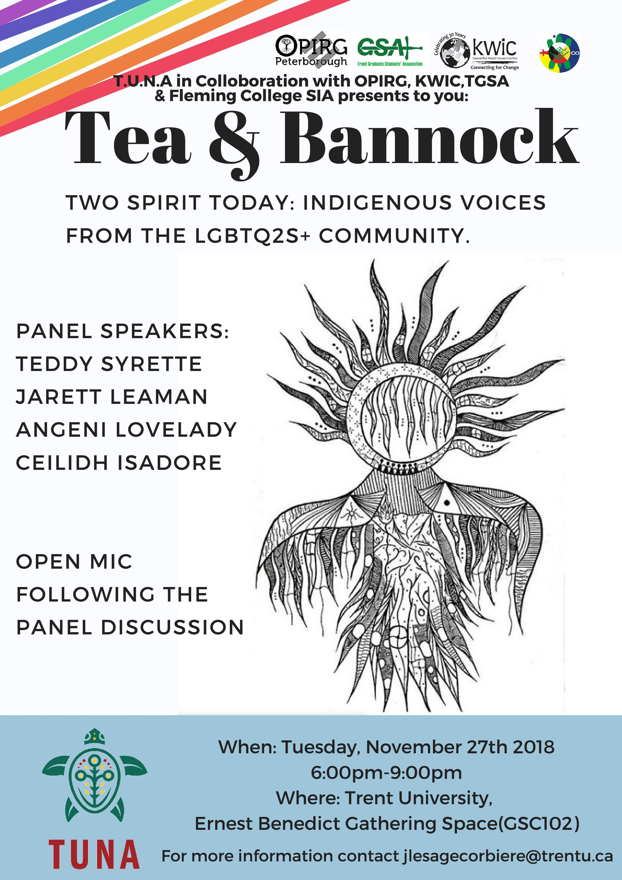 TUNA Tea and Bannock 2S Event Poster
