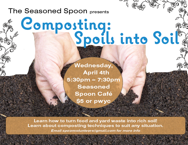 hands digging into dark rich soil, with event info written around image