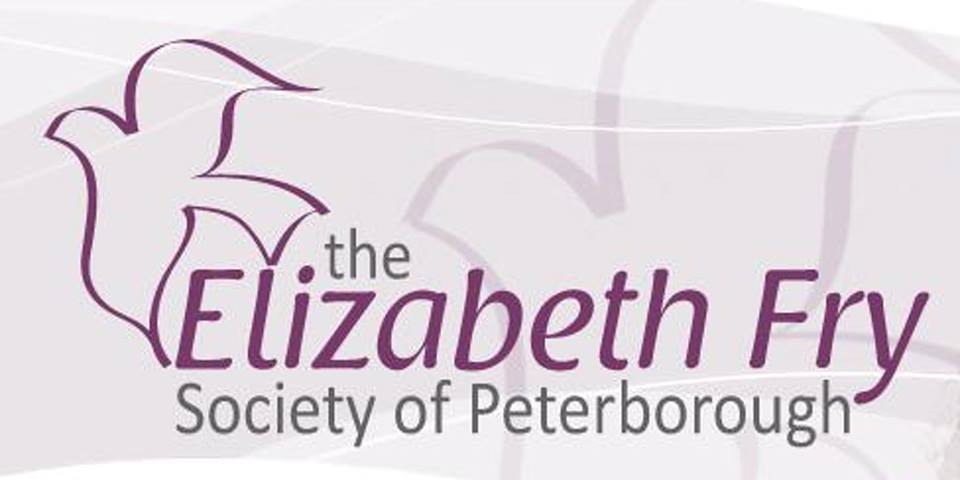 Elizabeth Fry logo - the words elizabeth fry written in purple and grey, with a purple outline/illustration of a dove