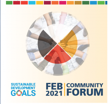 An infographic for the SDG Community Forum with a medicine wheel and the title of the event